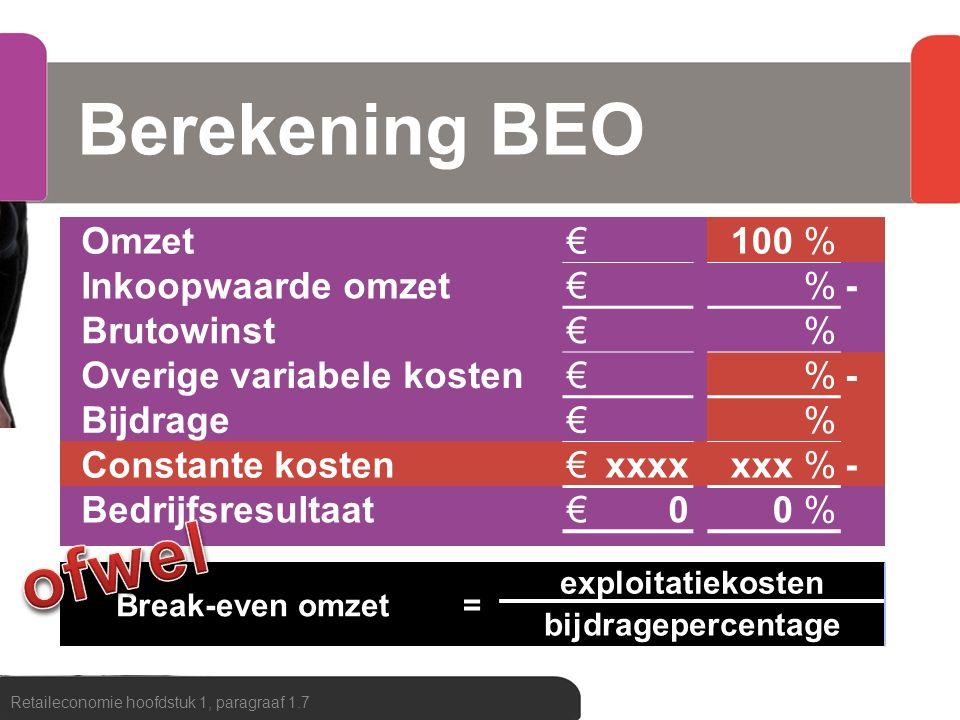 Berekening BEO ofwel Omzet € 100 % Inkoopwaarde omzet - Brutowinst