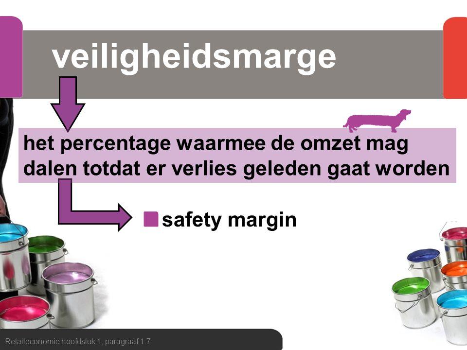 veiligheidsmarge het percentage waarmee de omzet mag dalen totdat er verlies geleden gaat worden. safety margin.