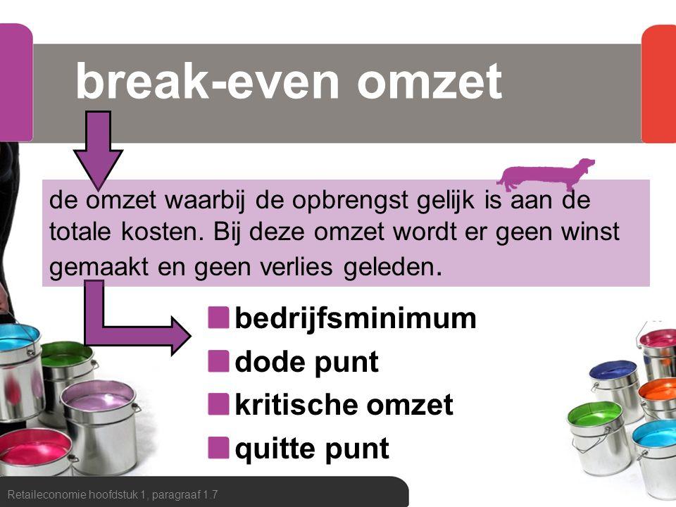 break-even omzet bedrijfsminimum dode punt kritische omzet quitte punt