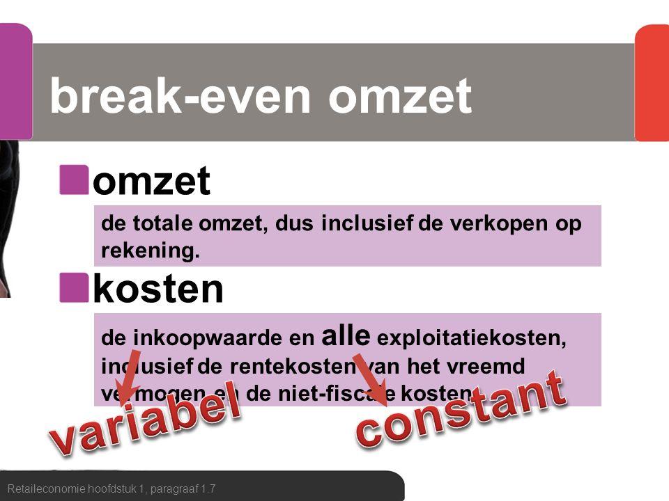 break-even omzet constant variabel omzet kosten