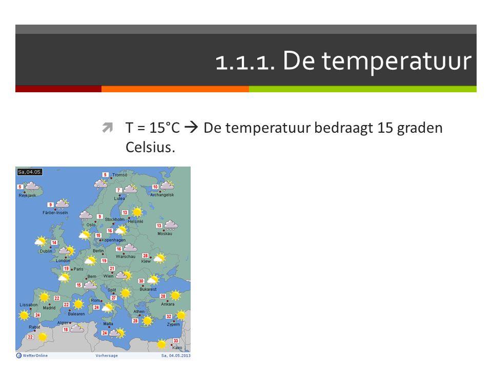 1.1.1. De temperatuur T = 15°C  De temperatuur bedraagt 15 graden Celsius.