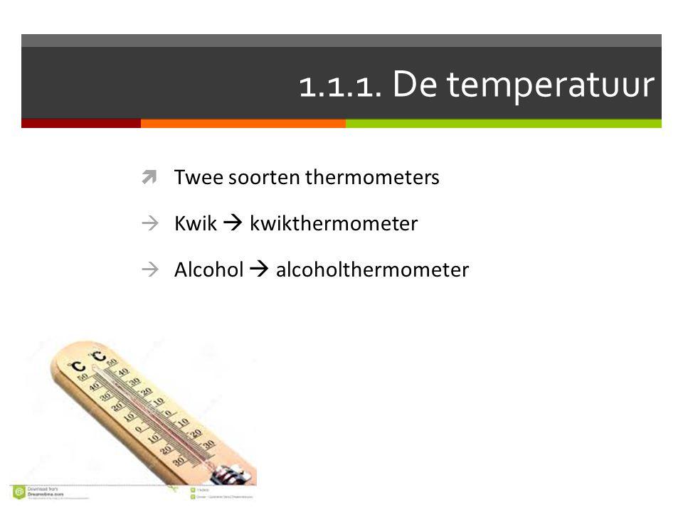 1.1.1. De temperatuur Twee soorten thermometers Kwik  kwikthermometer