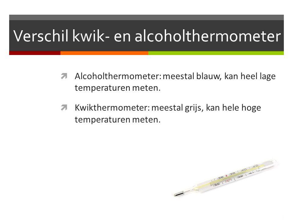 Verschil kwik- en alcoholthermometer