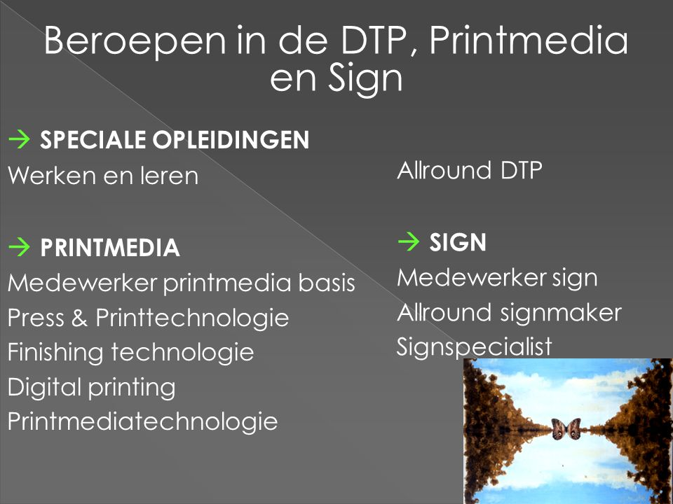 Beroepen in de DTP, Printmedia en Sign