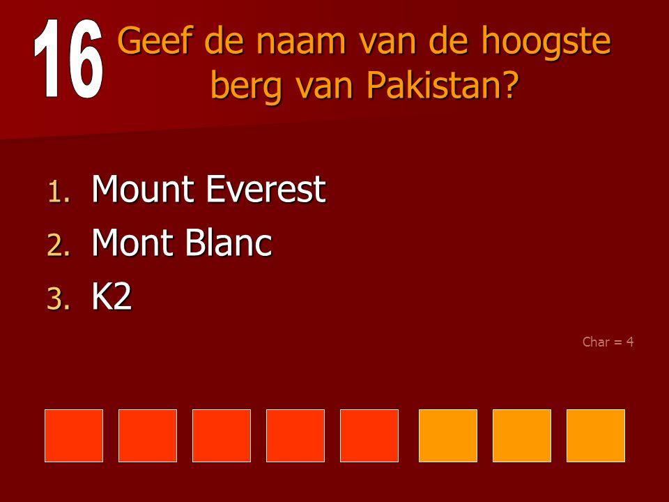 Geef de naam van de hoogste berg van Pakistan