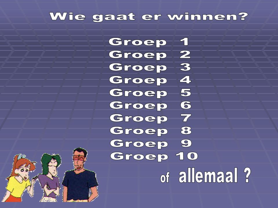 Wie gaat er winnen Groep 1 Groep 2 Groep 3 Groep 4 Groep 5 Groep 6