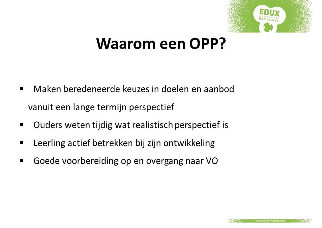Waarom een OPP Maken beredeneerde keuzes in doelen en aanbod