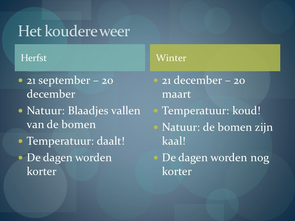 Het koudere weer 21 september – 20 december