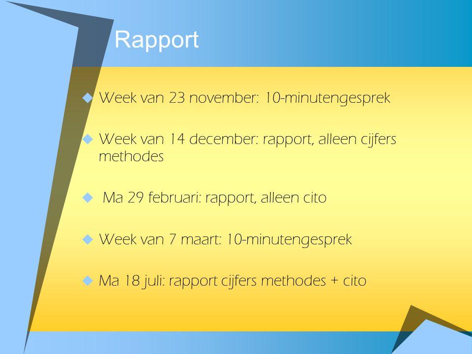Rapport Week van 23 november: 10-minutengesprek