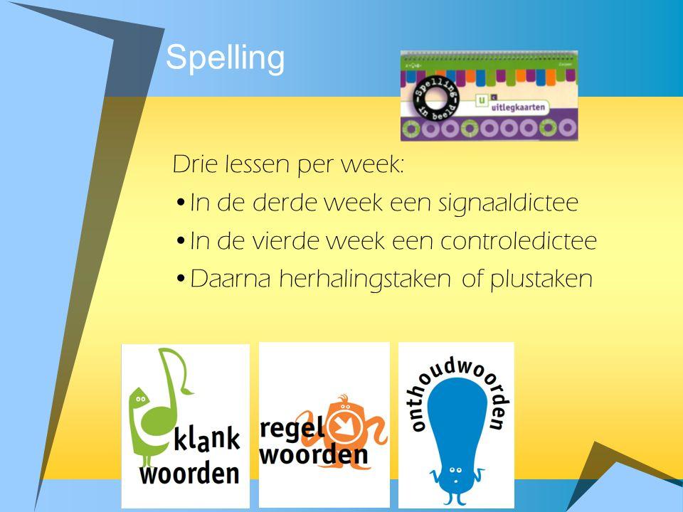 Spelling Drie lessen per week: •In de derde week een signaaldictee