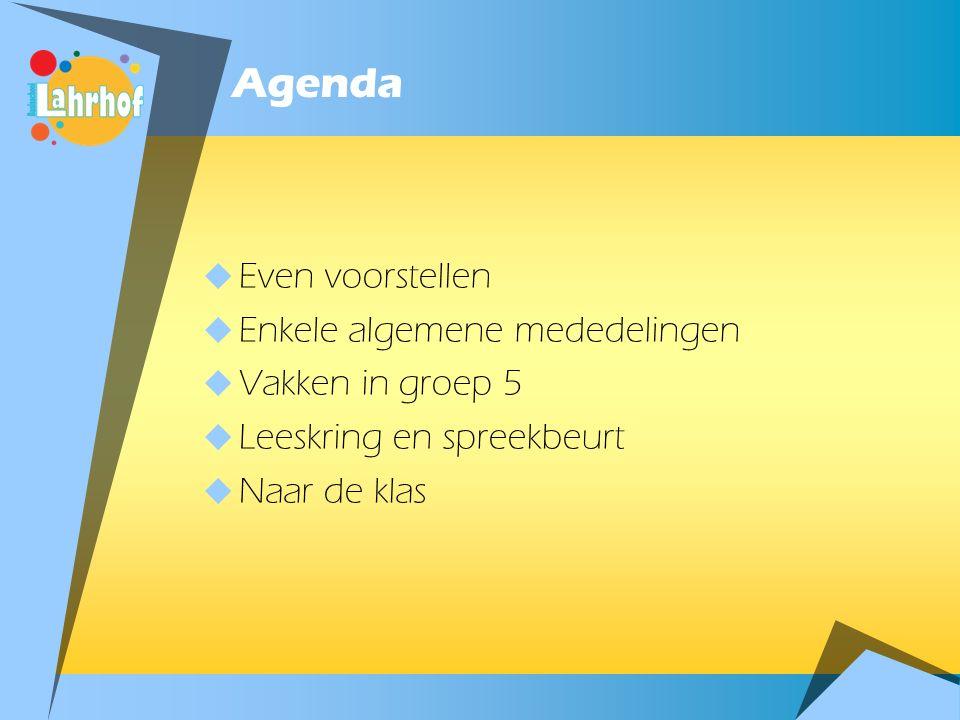 Agenda Even voorstellen Enkele algemene mededelingen Vakken in groep 5