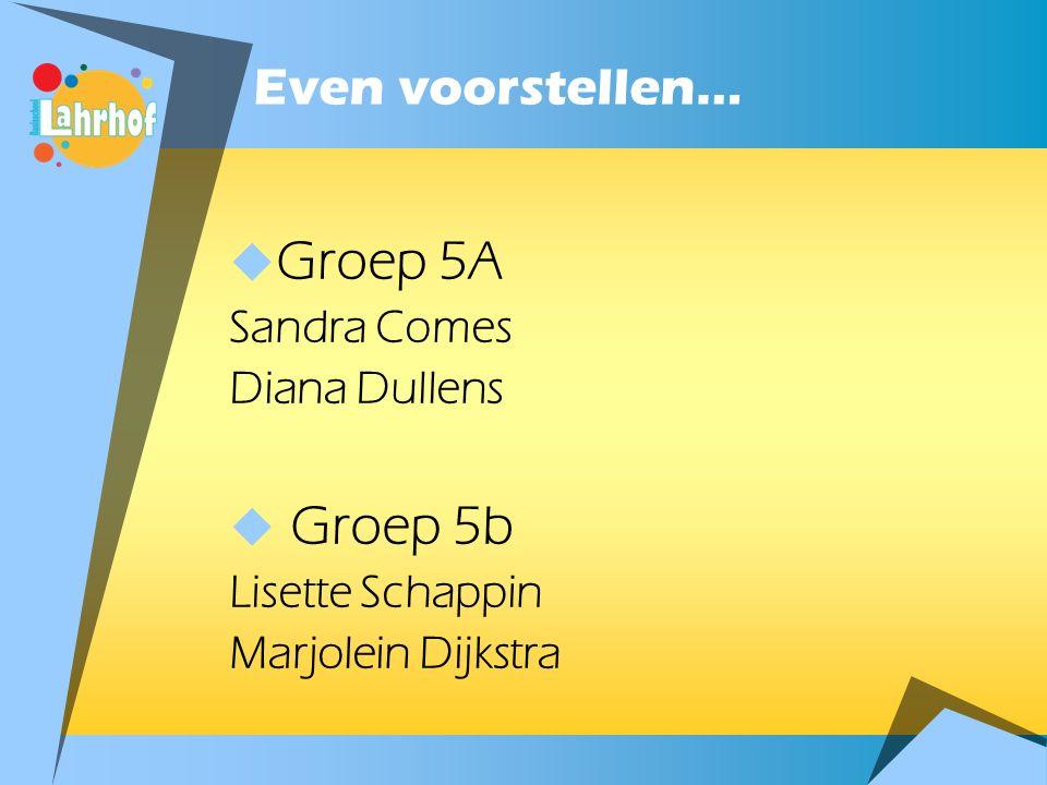 Groep 5A Groep 5b Even voorstellen… Sandra Comes Diana Dullens