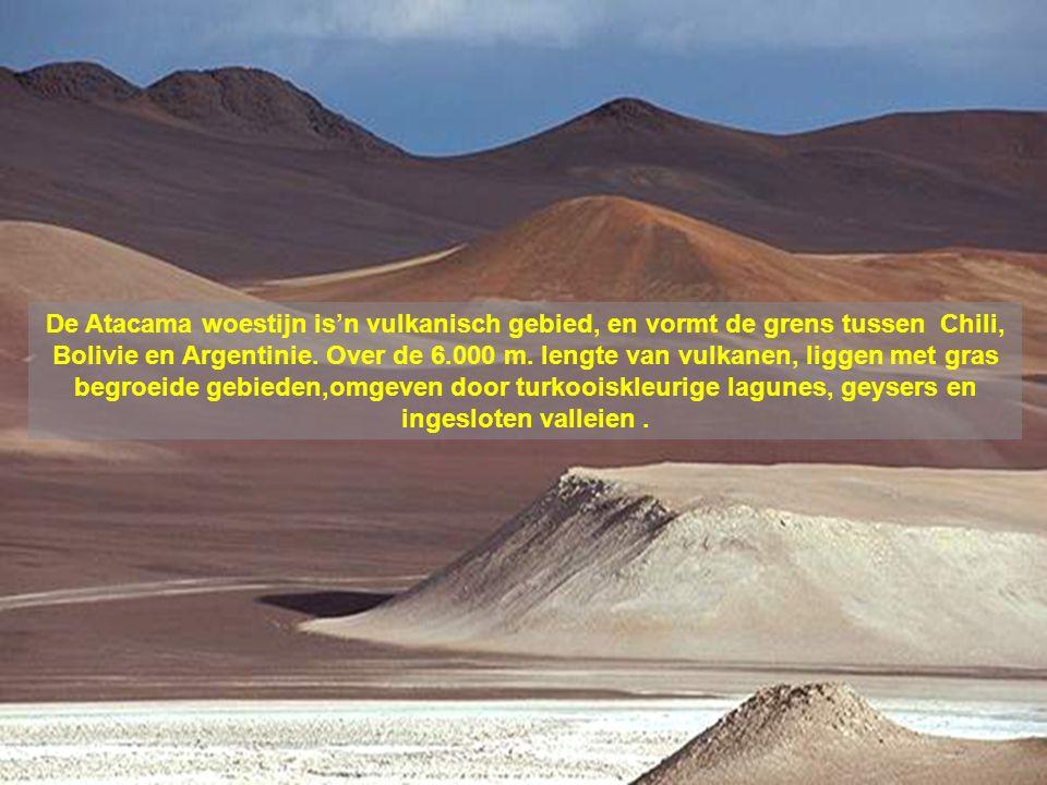 De Atacama woestijn is'n vulkanisch gebied, en vormt de grens tussen Chili, Bolivie en Argentinie.