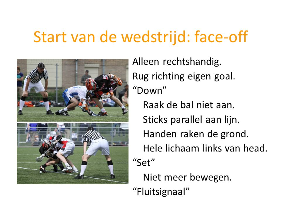 Start van de wedstrijd: face-off