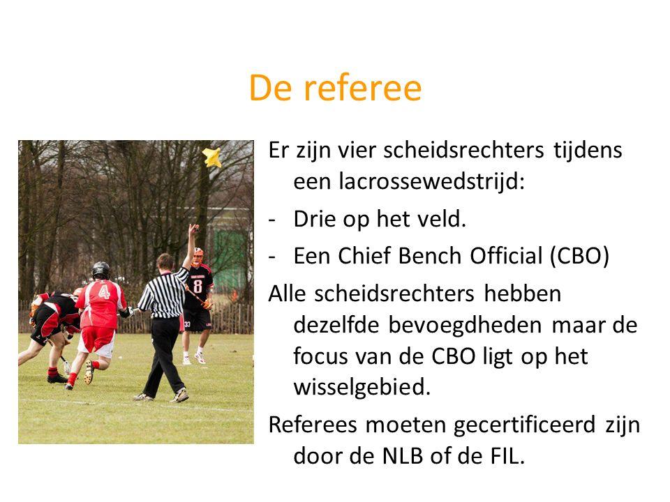 De referee Er zijn vier scheidsrechters tijdens een lacrossewedstrijd: