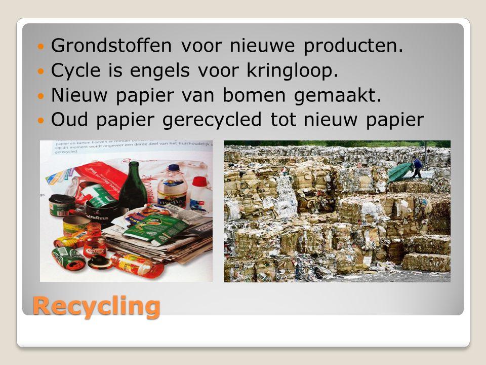 Recycling Grondstoffen voor nieuwe producten.