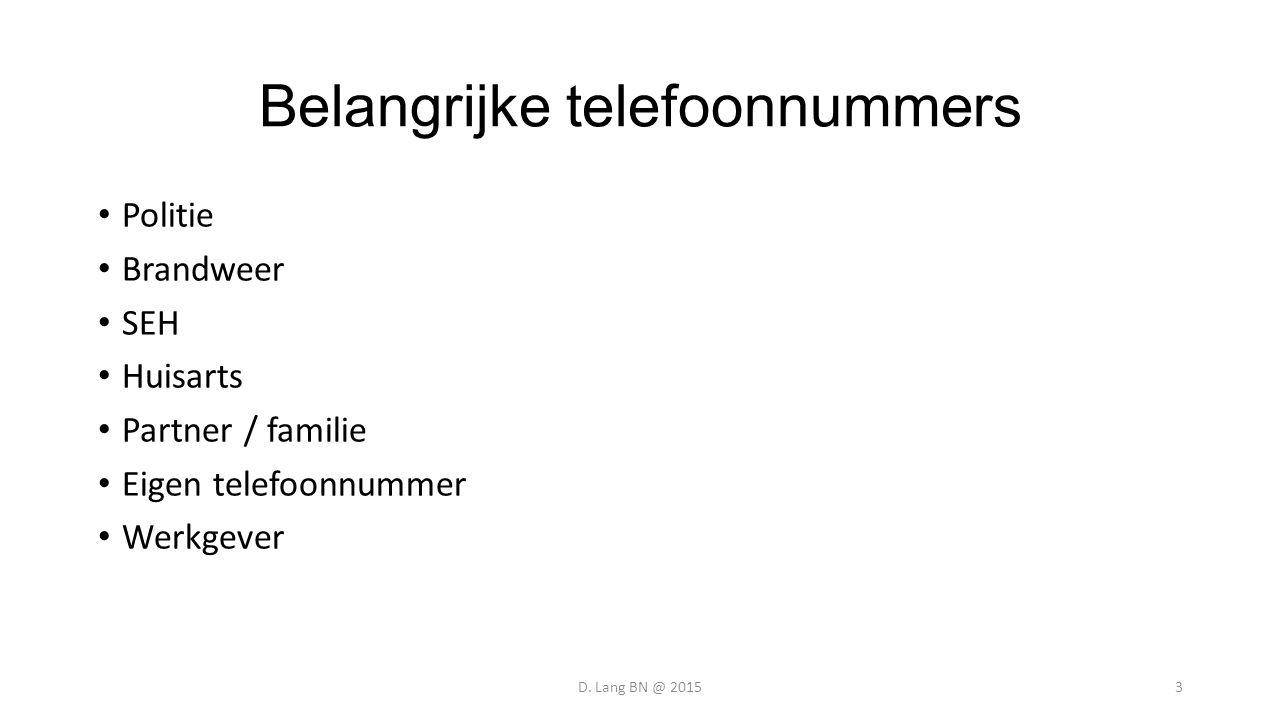 Belangrijke telefoonnummers