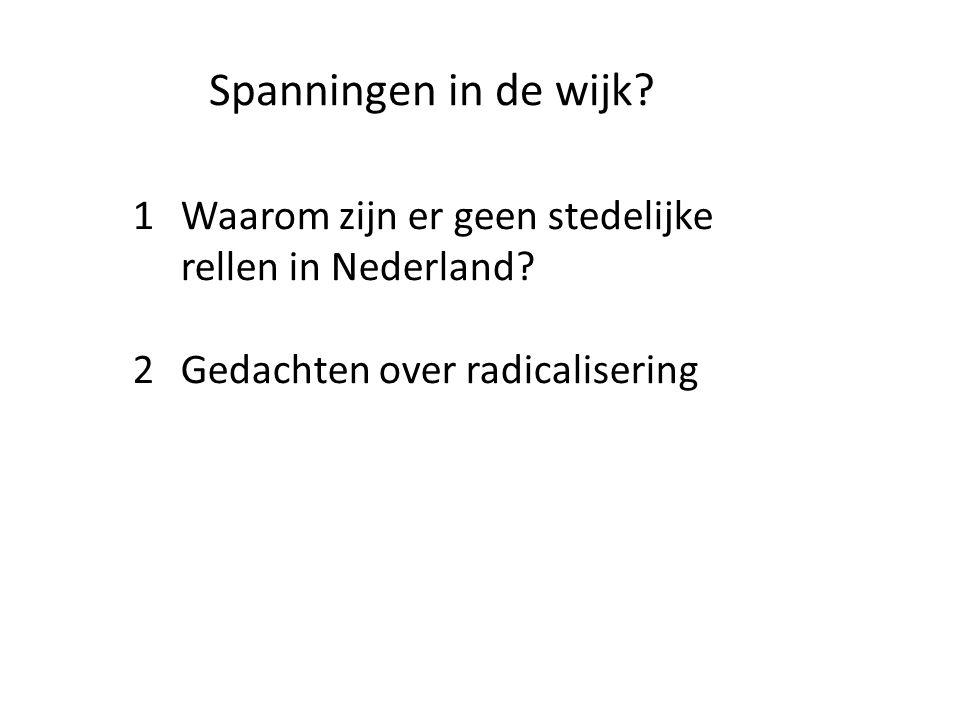 Spanningen in de wijk. 1 Waarom zijn er geen stedelijke rellen in Nederland.