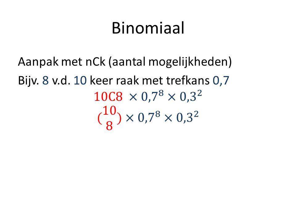 Binomiaal Aanpak met nCk (aantal mogelijkheden) Bijv.