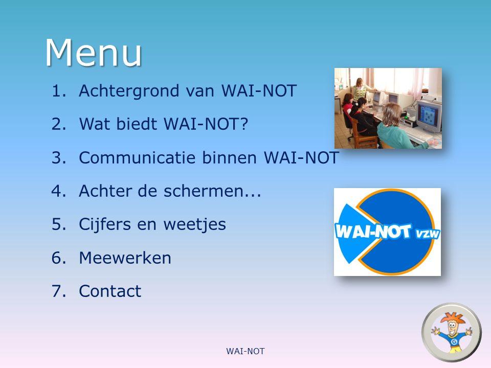 Menu Achtergrond van WAI-NOT Wat biedt WAI-NOT