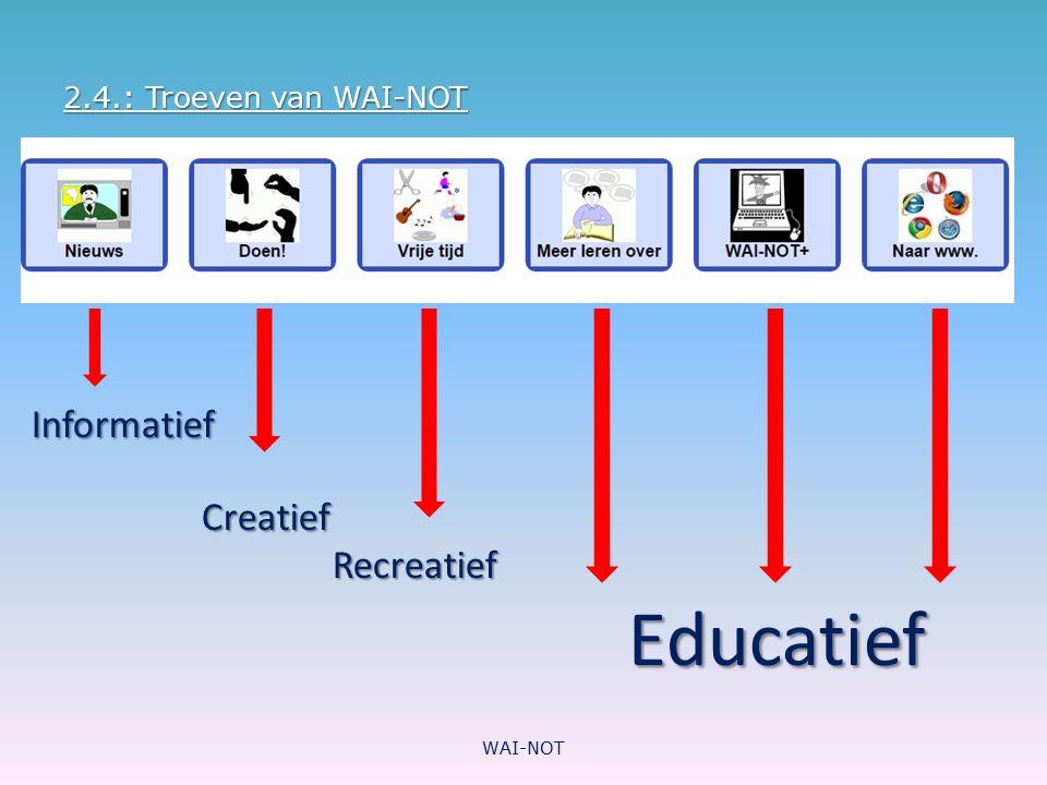 Informatief Creatief Recreatief Educatief 2.4.: Troeven van WAI-NOT