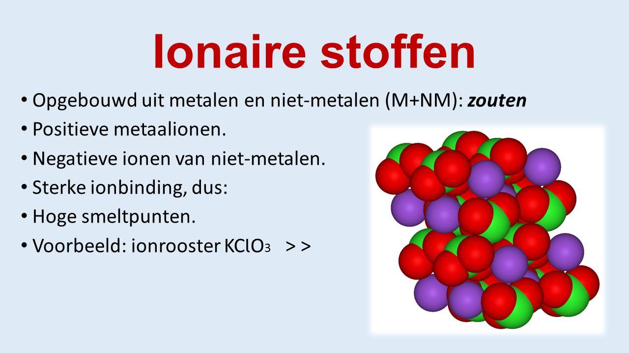 Ionaire stoffen Opgebouwd uit metalen en niet-metalen (M+NM): zouten