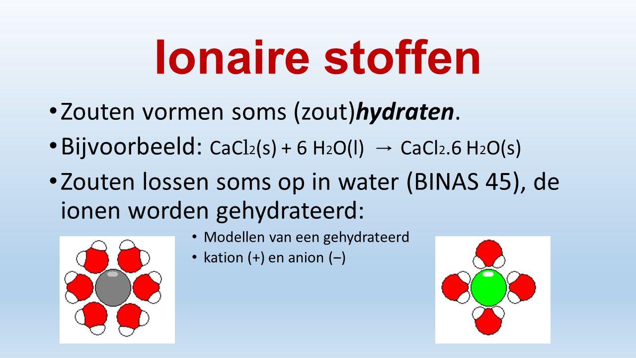 Ionaire stoffen Zouten vormen soms (zout)hydraten.