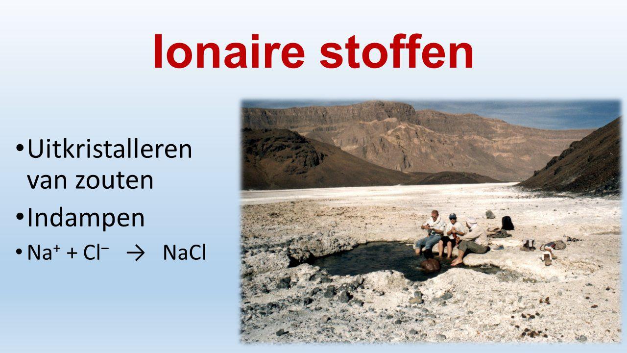 Ionaire stoffen Uitkristalleren van zouten Indampen Na+ + Cl‒ → NaCl
