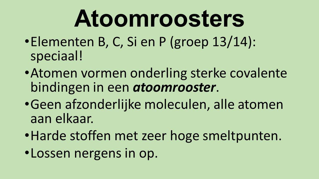 Atoomroosters Elementen B, C, Si en P (groep 13/14): speciaal!