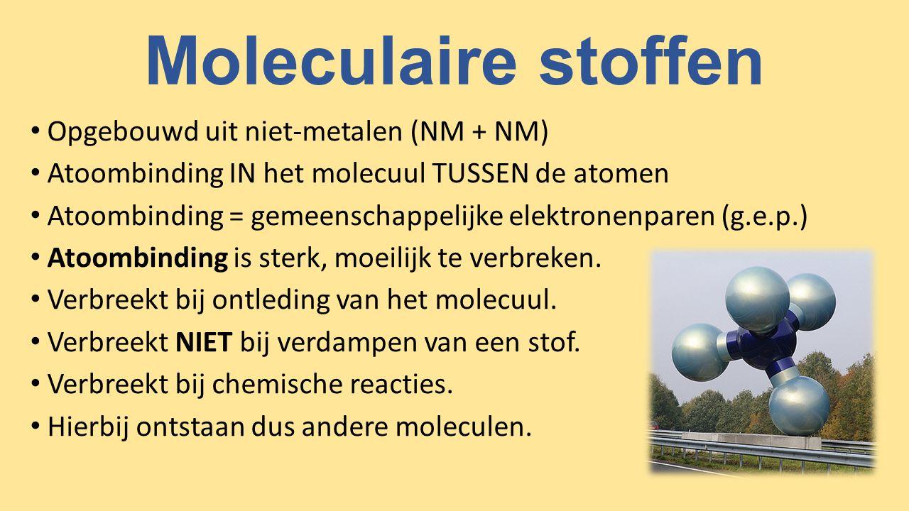 Moleculaire stoffen Opgebouwd uit niet-metalen (NM + NM)