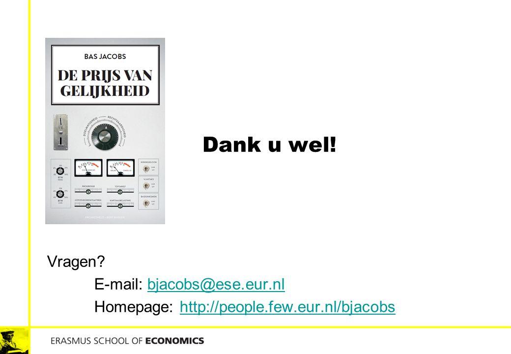 Dank u wel! Vragen E-mail: bjacobs@ese.eur.nl