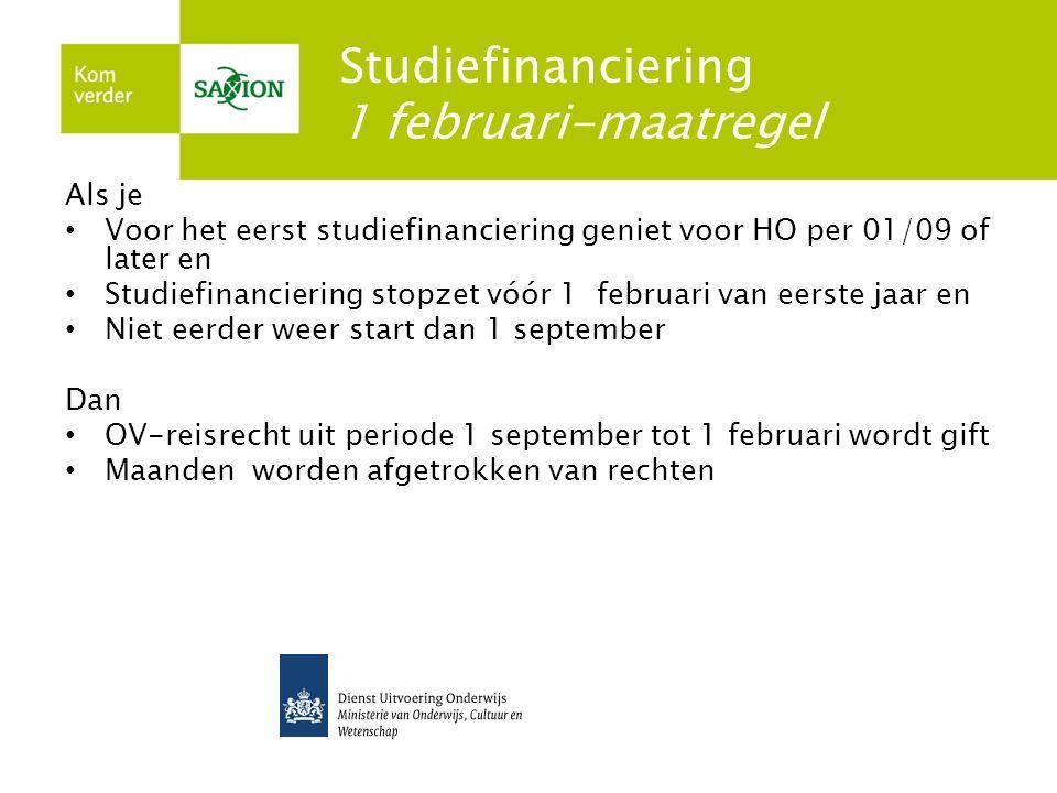 Studiefinanciering 1 februari-maatregel