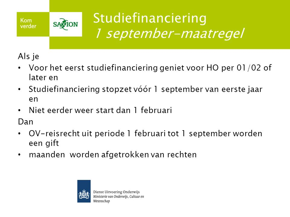 Studiefinanciering 1 september-maatregel