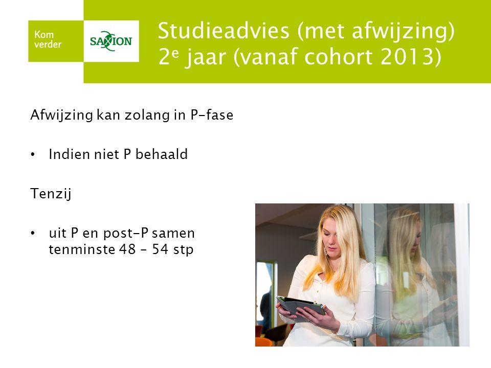 Studieadvies (met afwijzing) 2e jaar (vanaf cohort 2013)