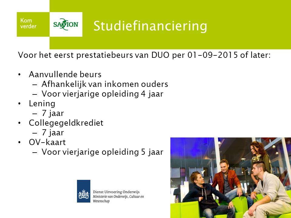 Studiefinanciering Voor het eerst prestatiebeurs van DUO per 01-09-2015 of later: Aanvullende beurs.