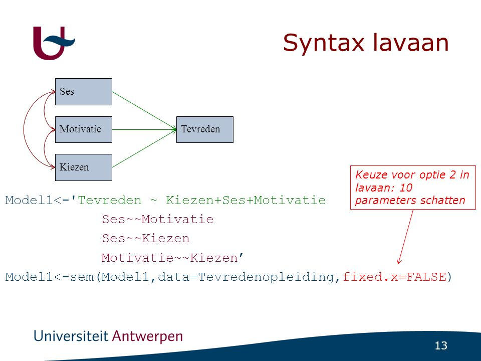 Syntax lavaan: parameters fixeren op nul!
