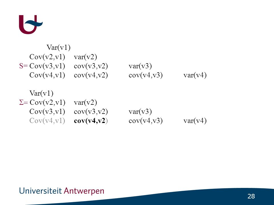 SEM Elk element van de covariantiematrix S kan worden uitgedrukt als een functie van de parameters uit het model.