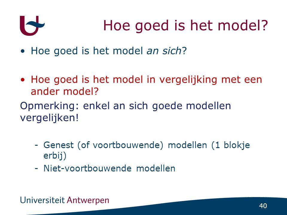 Geneste modellen Model 1 Model 2 V1 V3 V4 V2 V1 V3 V4 V2