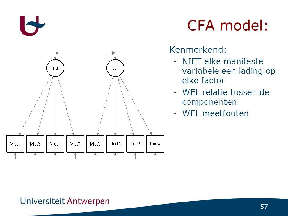 CFA model: De asterixen verwijzen naar de te schatten parameters