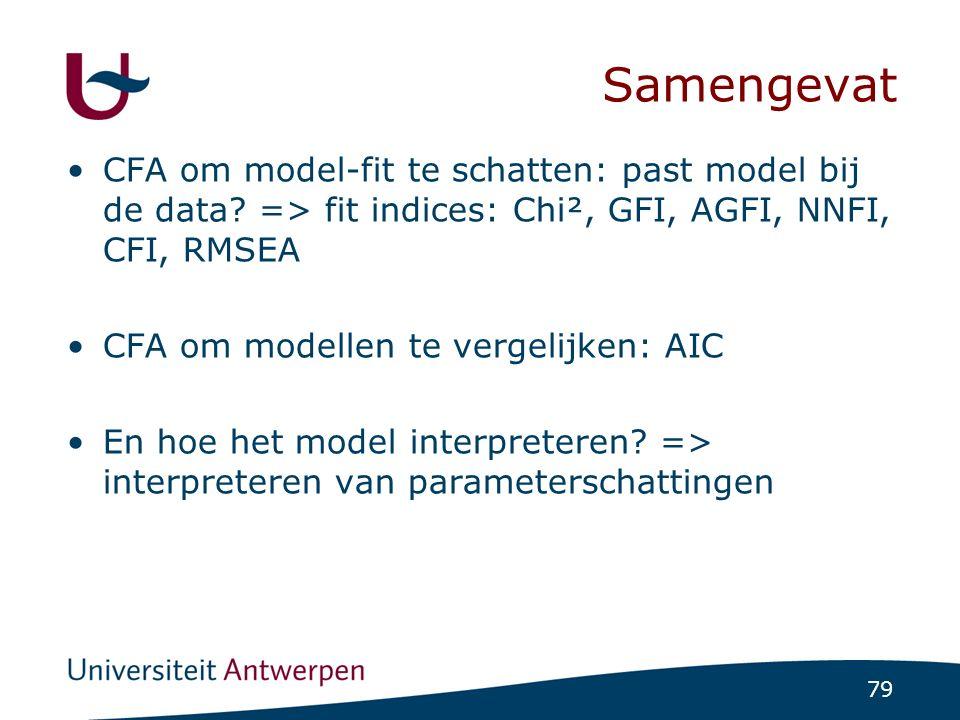 STAPPENPLAN CFA Stel de verschillende theoretische modellen of het ene theoretische model vast. Vertaal dit in een visualisatie.