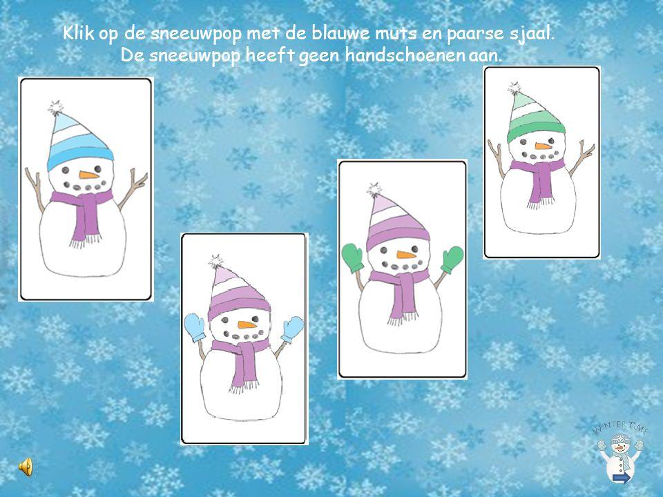 Klik op de sneeuwpop met de blauwe muts en paarse sjaal.
