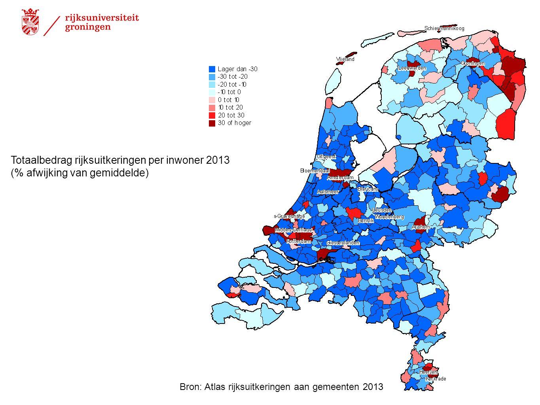 Totaalbedrag rijksuitkeringen per inwoner 2013
