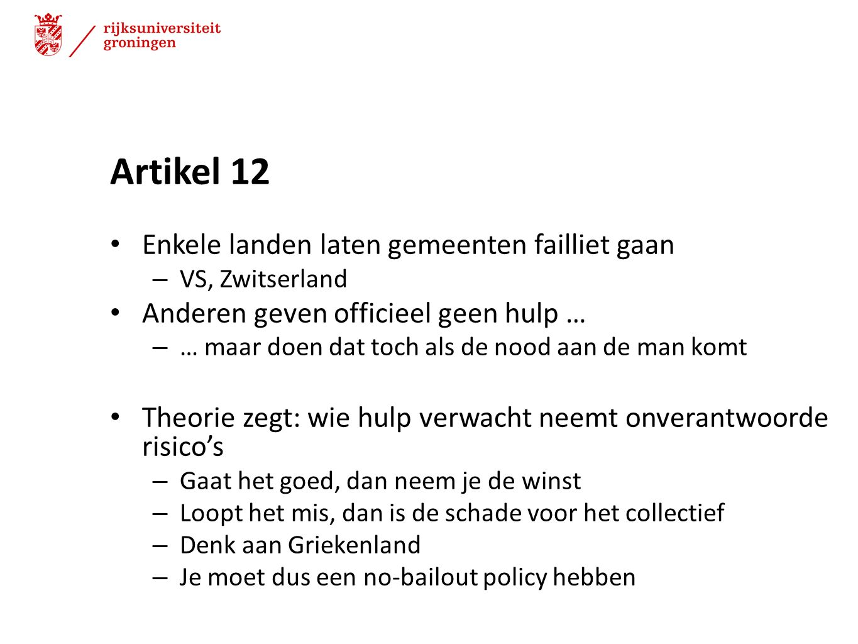 Artikel 12 Enkele landen laten gemeenten failliet gaan