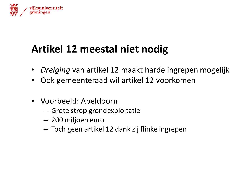 Artikel 12 meestal niet nodig