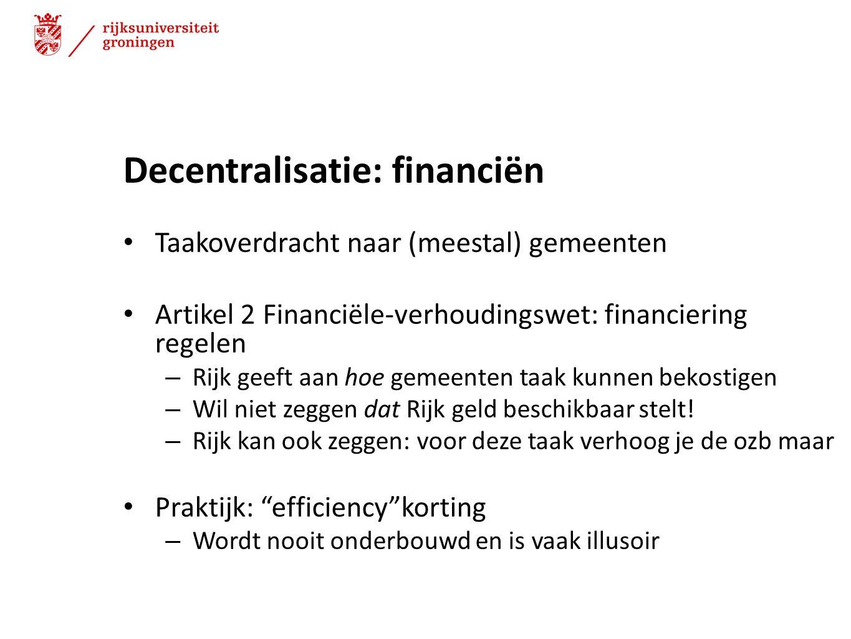 Decentralisatie: financiën
