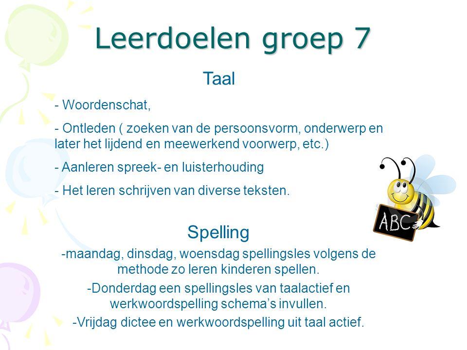 Vrijdag dictee en werkwoordspelling uit taal actief.