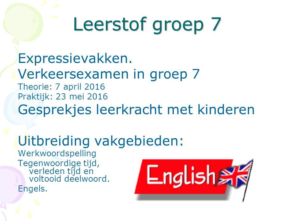 Leerstof groep 7 Expressievakken. Verkeersexamen in groep 7