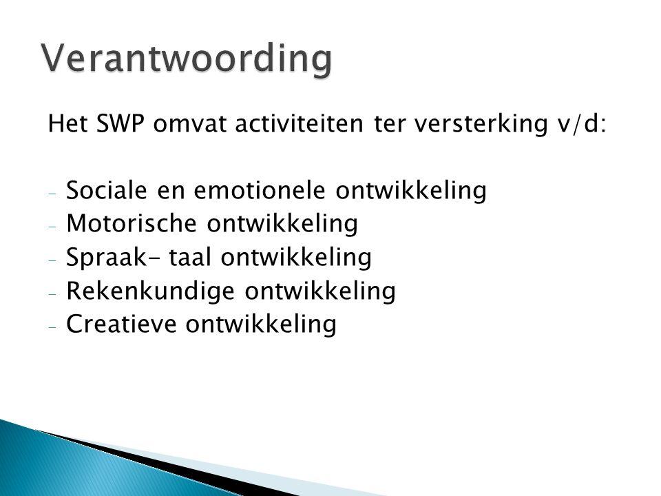 Verantwoording Het SWP omvat activiteiten ter versterking v/d: