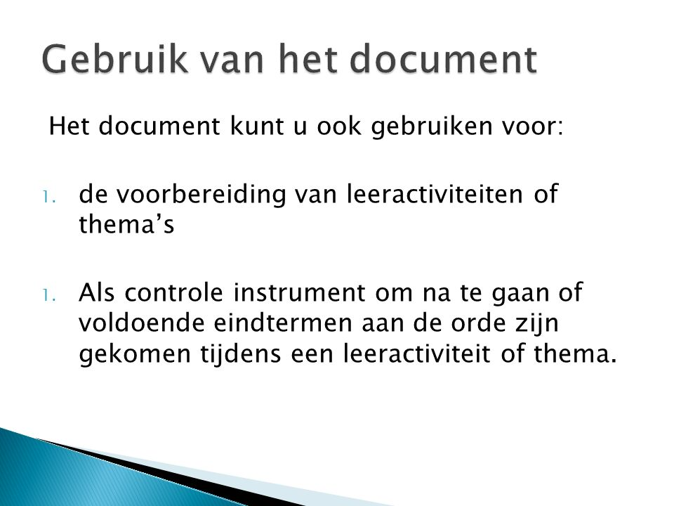 Gebruik van het document