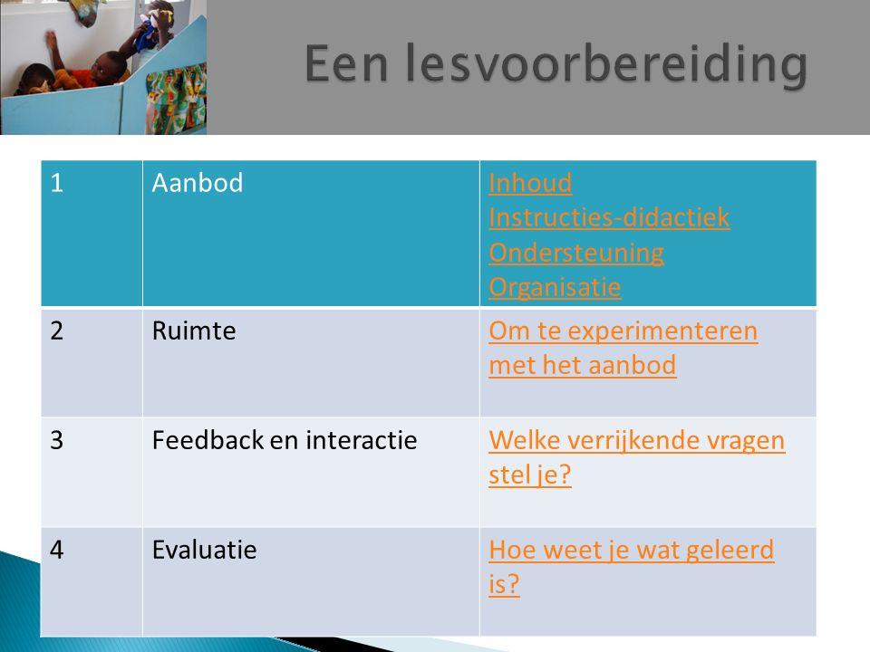 Een lesvoorbereiding 1 Aanbod Inhoud Instructies-didactiek